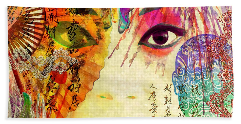 Opera Hand Towel featuring the mixed media Beijing Opera Girl by Stacey Chiew