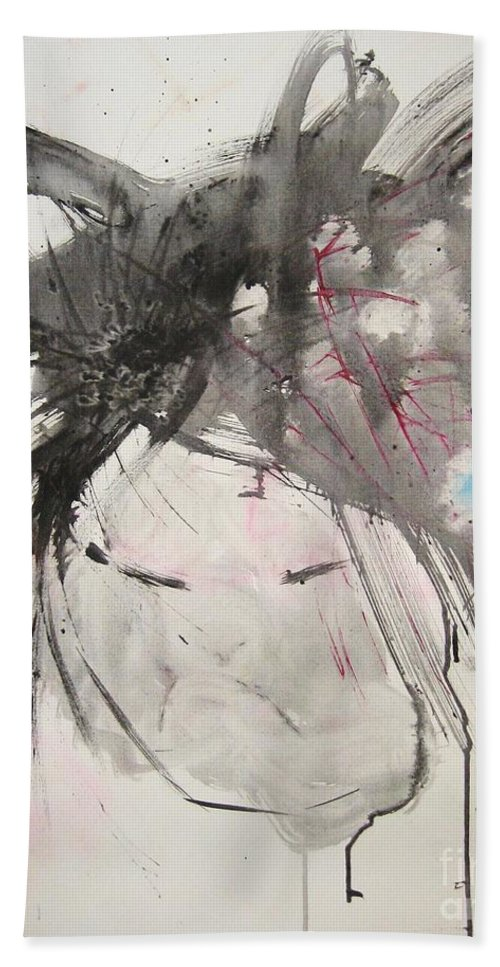 Black And White Paintings Hand Towel featuring the painting Being Patient by Seon-Jeong Kim