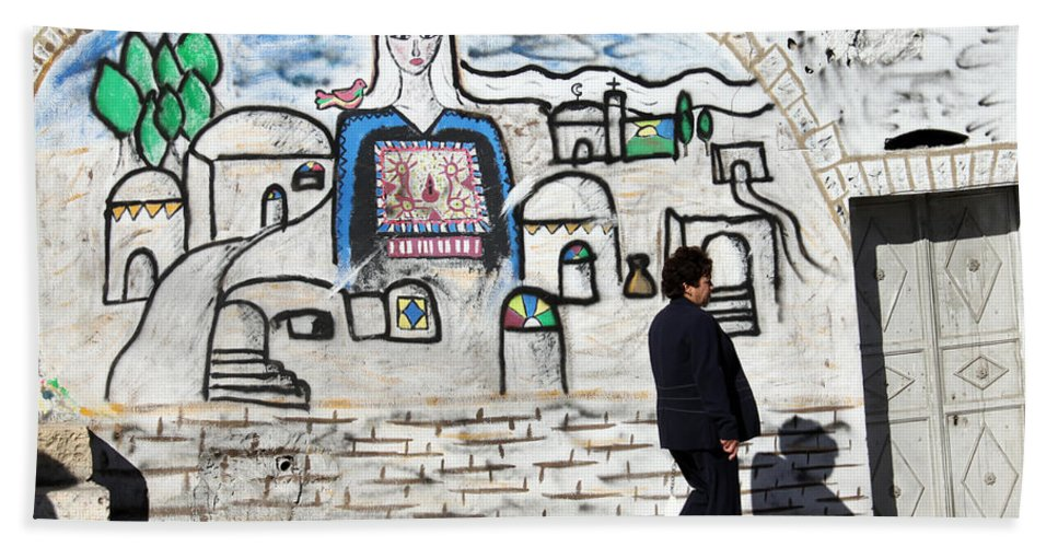 Bethlehem Hand Towel featuring the photograph Beit Jala - I Am Looking At You by Munir Alawi