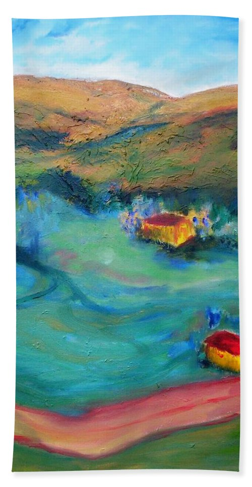Landscape Bath Sheet featuring the painting Beit Shemesh by Suzanne Udell Levinger