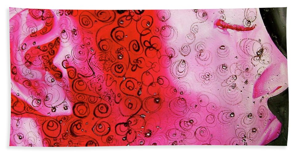 Pink Bath Sheet featuring the painting Bejeweled by Laura Pierre-Louis