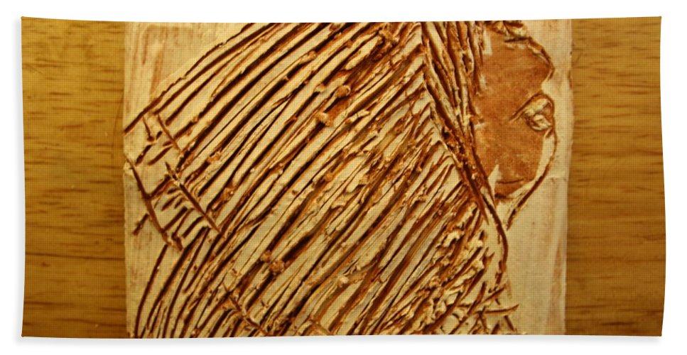 Jesus Hand Towel featuring the ceramic art Beleif - Tile by Gloria Ssali