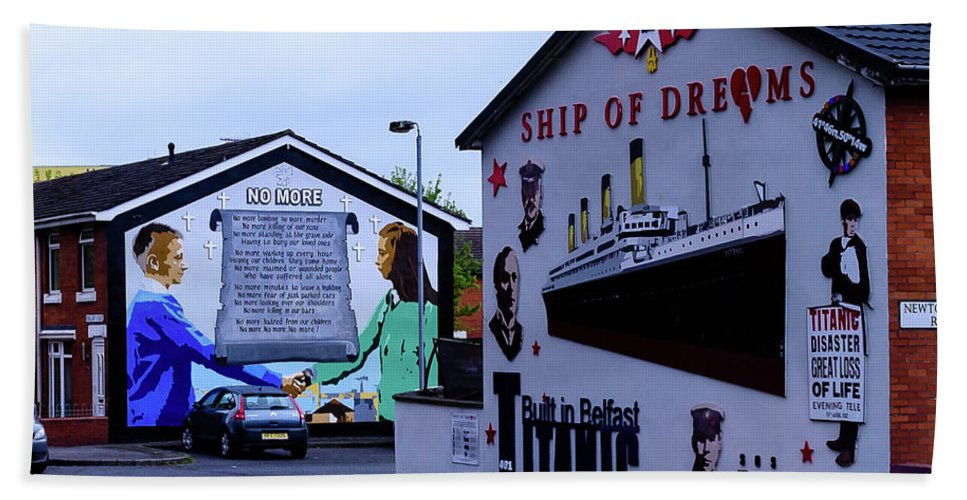 Belfast Hand Towel featuring the photograph Belfast Mural - No More by Jon Berghoff