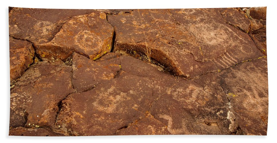 Lava Hand Towel featuring the photograph Belfast Petroglyph 6 by Michele James