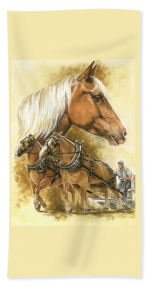 Equus Hand Towel featuring the mixed media Belgian by Barbara Keith