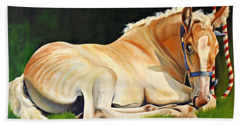 Belgian Bath Sheet featuring the painting Belgian Horse Foal by Toni Grote
