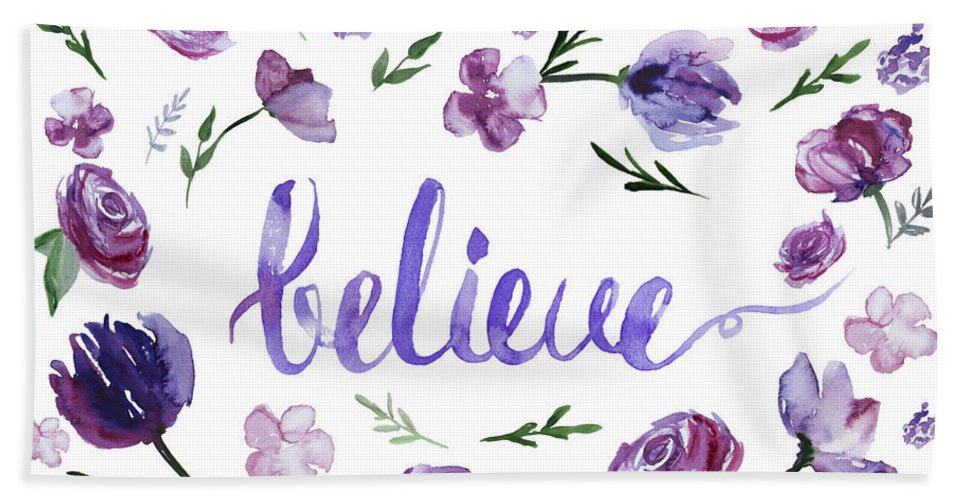 Believe Hand Towel featuring the painting Believe by Ilze Lucero