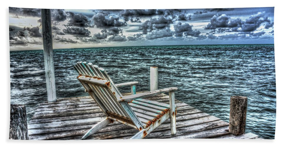 Adirondack Chair Bath Sheet featuring the photograph Belize Beach Chair #2 by Jim Wagner