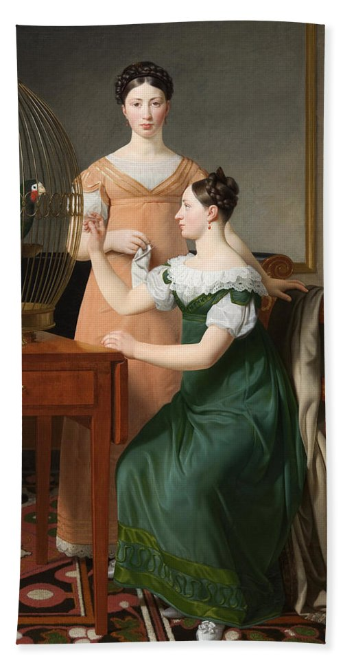 Christoffer Wilhelm Eckersberg Hand Towel featuring the painting Bella And Hanna. The Eldest Daughters Of M.l. Nathanson by Christoffer Wilhelm Eckersberg