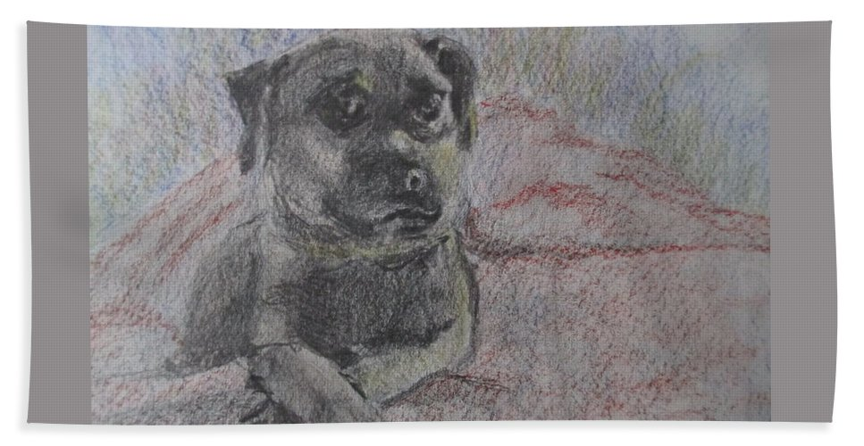 Bella Hand Towel featuring the painting Bella In Pencil by Katherine Berlin