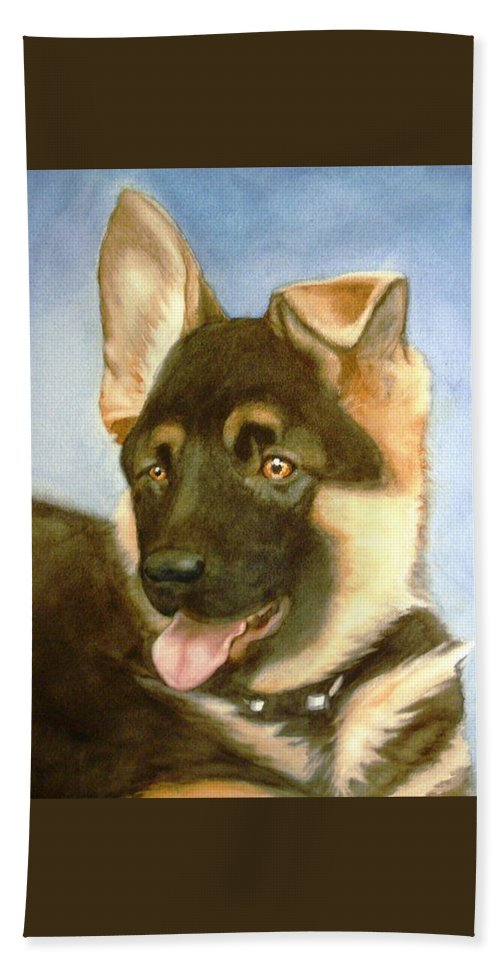 German Shepherd Puppy Hand Towel featuring the painting Bella by Marilyn Jacobson