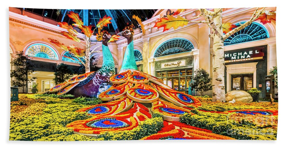 Bellagio Conservatory Hand Towel featuring the photograph Bellagio Conservatory Fall Peacock Display Side View Wide 2 To 1 Ratio by Aloha Art