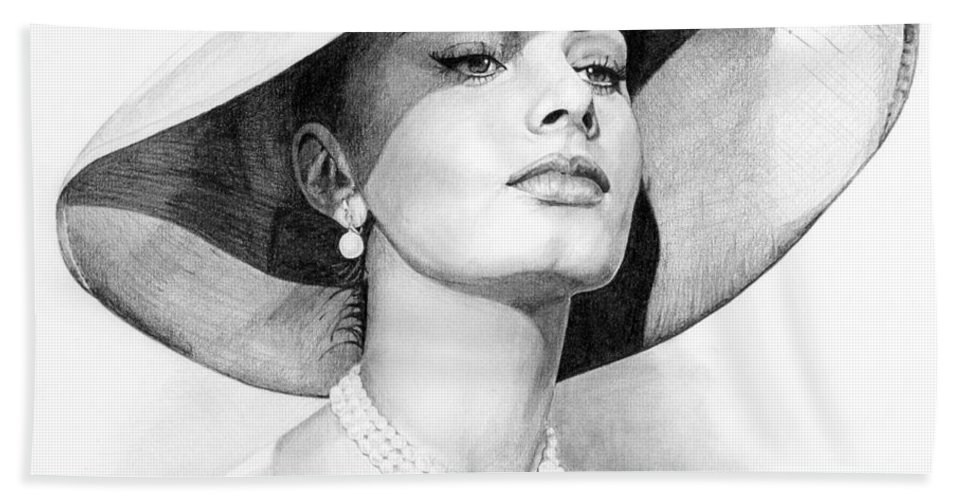 Sophia Hand Towel featuring the drawing Bellezza eterna by Rob De Vries