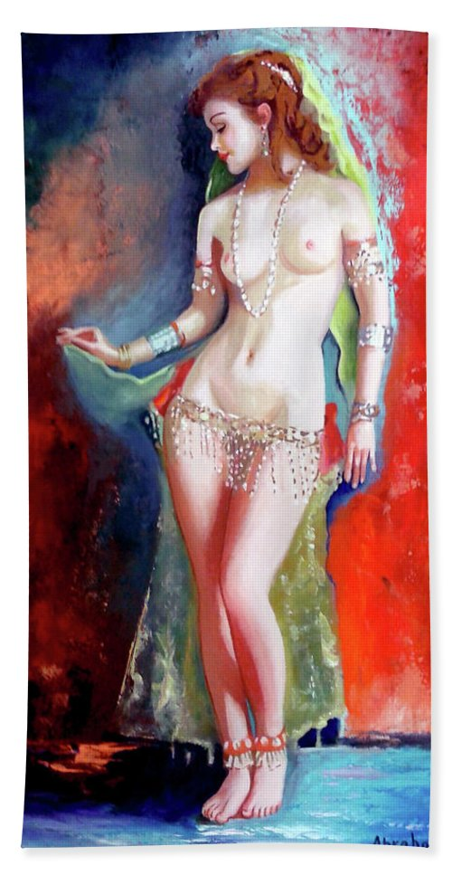 Women.bellydancer Bath Sheet featuring the painting Belly Dancer 4 by Jose Manuel Abraham
