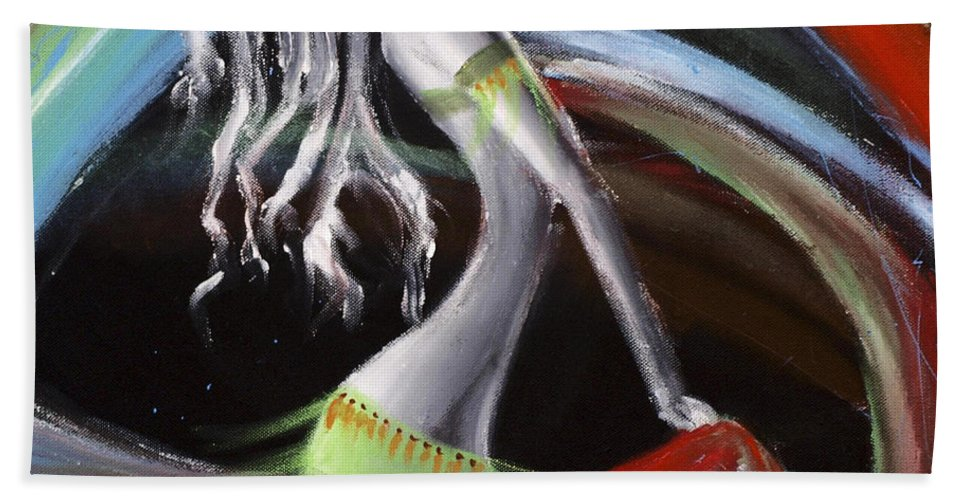 Colourful Hand Towel featuring the painting Belly Dancer by Kelly Jade King