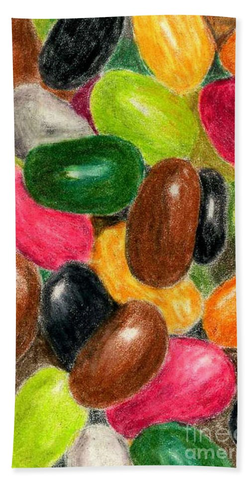 Colored Pencil Hand Towel featuring the painting Belly Jelly by Lynne Reichhart