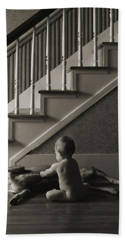 Dog And Baby Hand Towel featuring the photograph Belly Scratch by Herman Robert