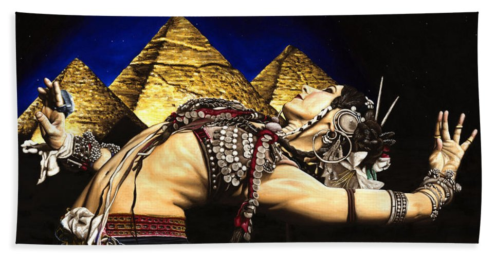 Bellydance Bath Sheet featuring the painting Bellydance of the Pyramids - Rachel Brice by Richard Young
