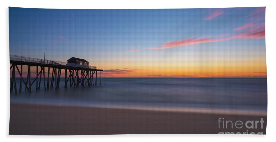 Fishing Pier Sunrise Hand Towel featuring the photograph Belmar Fishing Pier Sunrise by Michael Ver Sprill