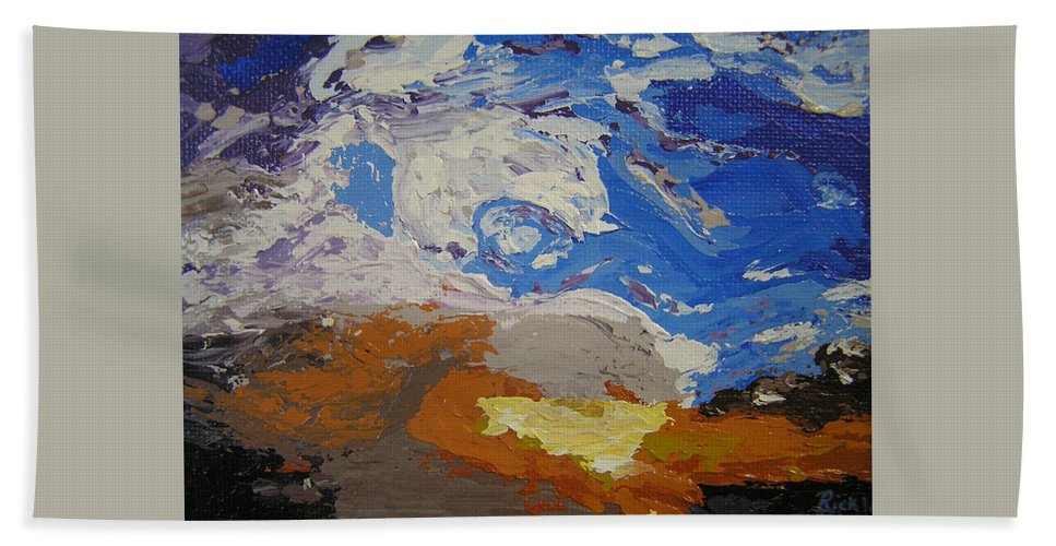 Sunset Bath Towel featuring the painting Belonging by Ricklene Wren