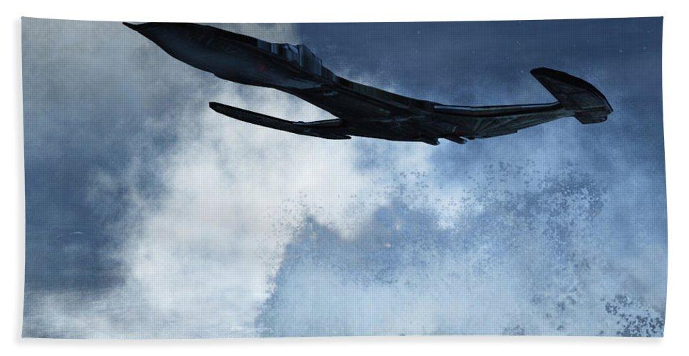 Flight Hand Towel featuring the digital art Below Radar by Richard Rizzo