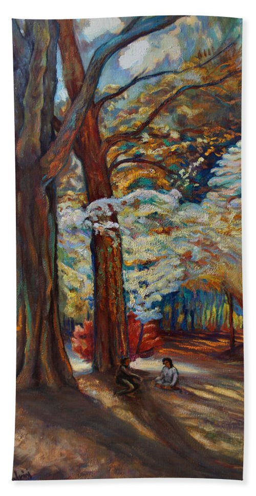 Trees Bath Sheet featuring the painting Below the Blossums by Maris Salmins