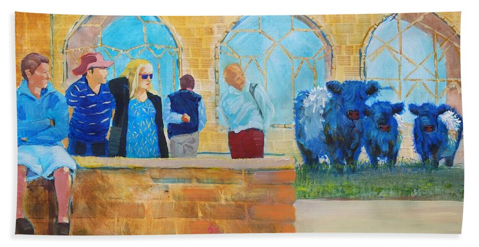 Belted Galloway Cows Hand Towel featuring the painting Belted Galloway Cows And People At Exeter Cathedral by Mike Jory