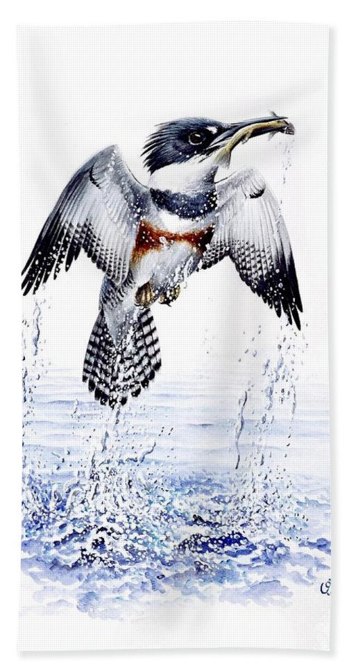 Chris Cox Bath Towel featuring the painting Belted Kingfisher by Christopher Cox