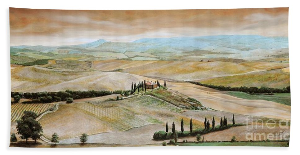 Italian Landscape; Tuscan; Hills; Countryside; Villa; Rural; Agricultural; Farmland; Tuscan Landscape; Hillside; Italy; Belvedere; Tuscany; Tree; Trees Hand Towel featuring the painting Belvedere - Tuscany by Trevor Neal