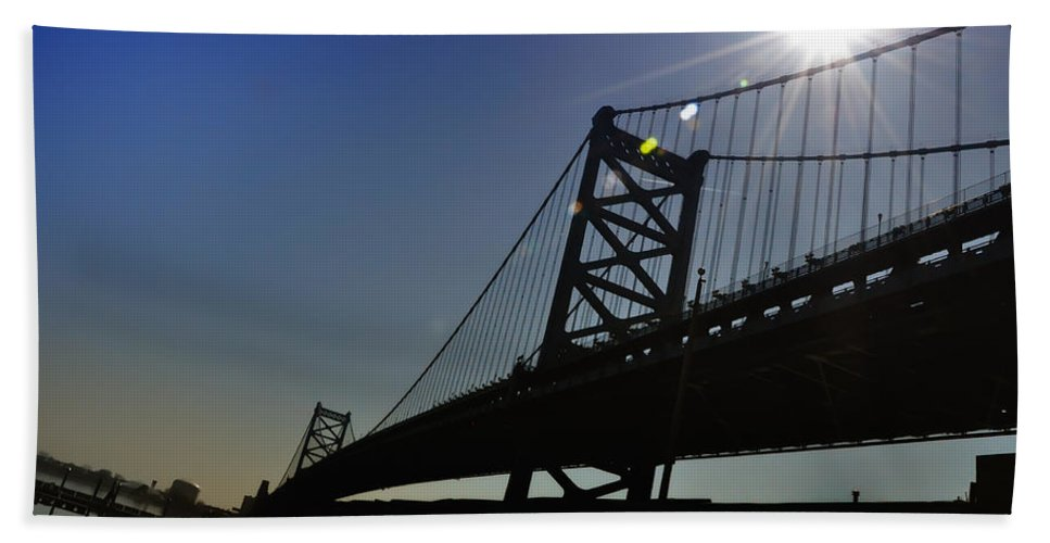 Philadelphia Bath Sheet featuring the photograph Ben Franklin Bridge 2 by Bill Cannon
