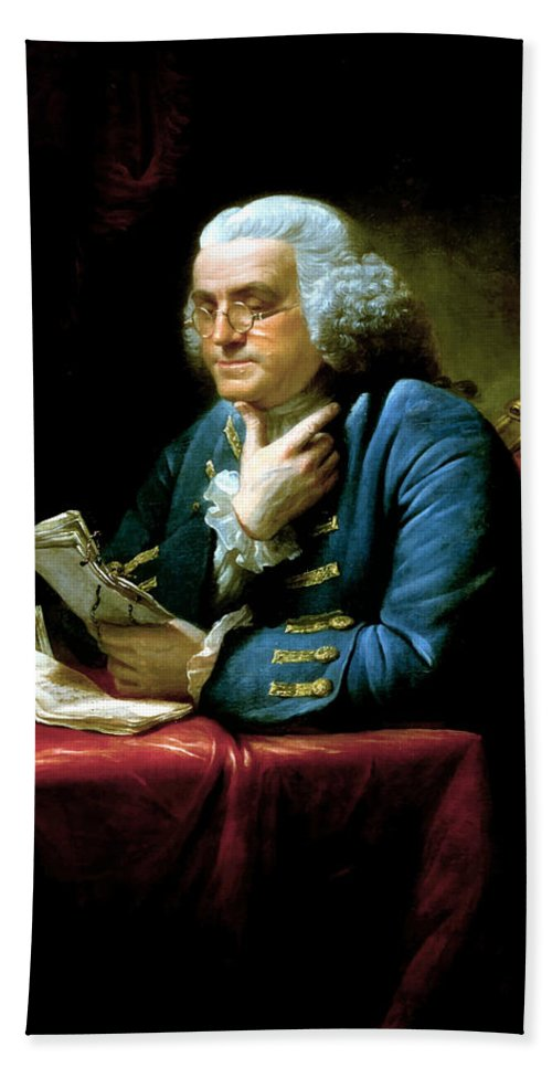 Benjamin Franklin Hand Towel featuring the painting Ben Franklin by War Is Hell Store