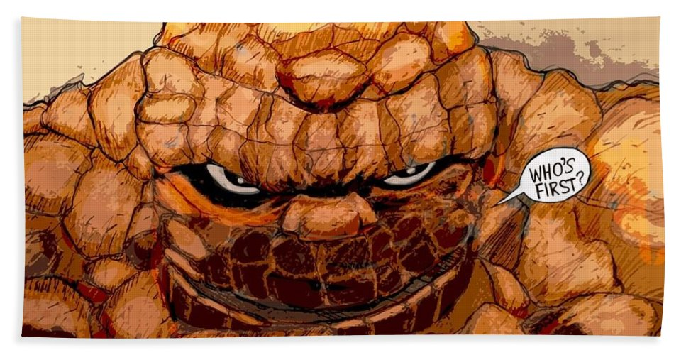 Superhero Art Bath Sheet featuring the painting Ben Grimm by Jazzboy