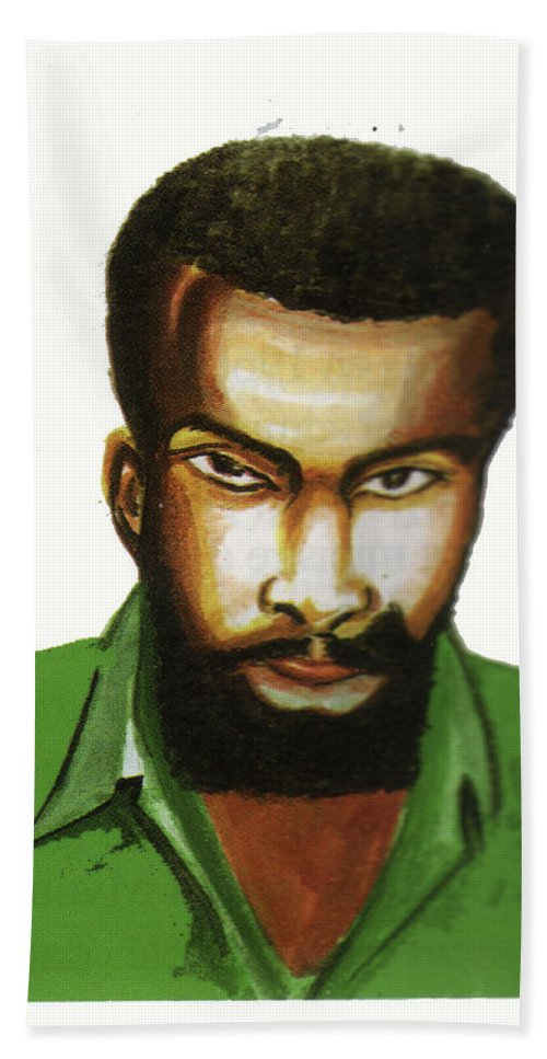 Portraits Bath Sheet featuring the painting Ben Okri by Emmanuel Baliyanga