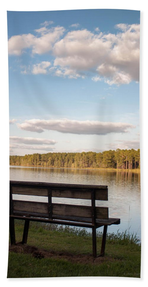 Lake Hand Towel featuring the photograph Bench By The Lake by Mechala Matthews