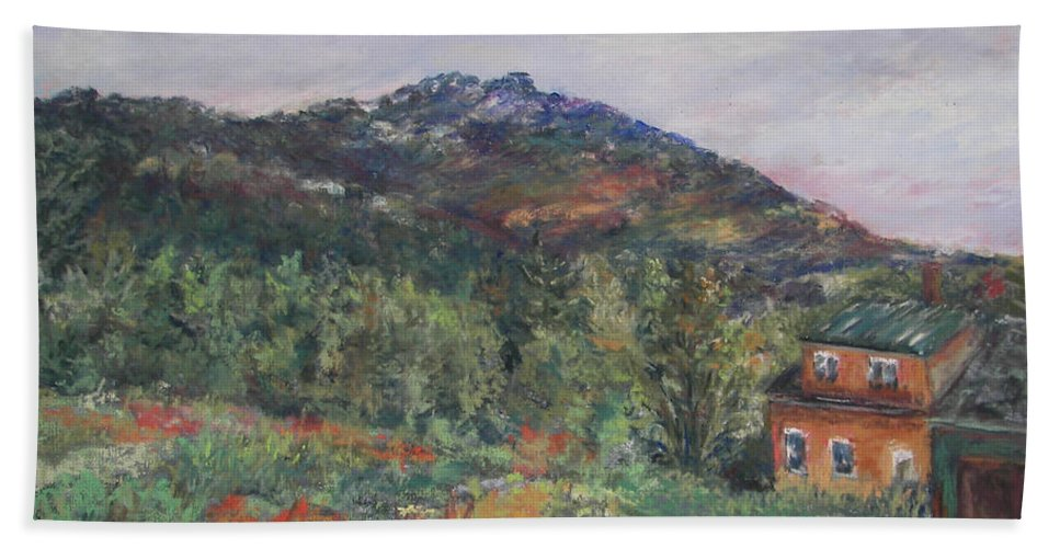 Mt. Bath Towel featuring the pastel Beneath A Mighty Giant by Alicia Drakiotes