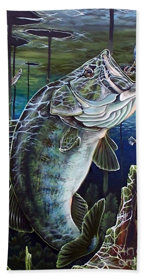 Bass Hand Towel featuring the painting Beneath The Surface by Monica Turner