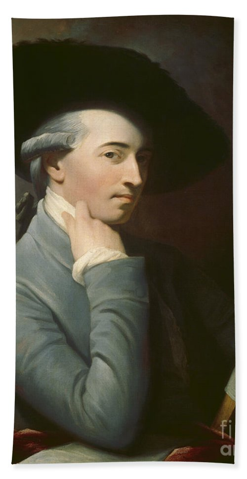 Hand Towel featuring the painting Benjamin West by After Benjamin West