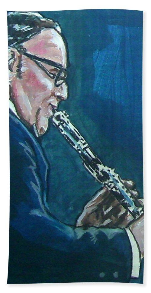 Benny Goodman Hand Towel featuring the painting Benny Goodman by Bryan Bustard