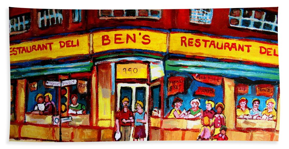 Bens Famous Restaurant Bath Sheet featuring the painting Ben's Delicatessen - Montreal Memories - Montreal Landmarks - Montreal City Scene - Paintings by Carole Spandau