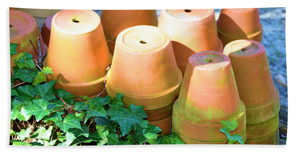 Still Life Hand Towel featuring the photograph Ben's Pots by Jan Amiss Photography