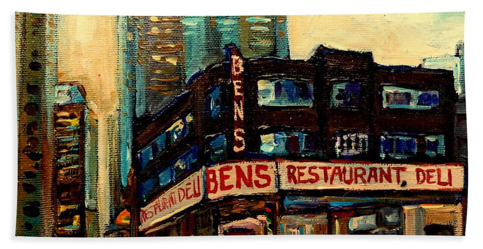 Bens Restaurant Bath Sheet featuring the painting Bens Restaurant Deli by Carole Spandau