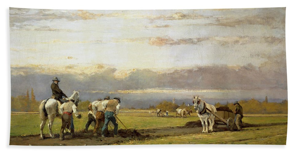 Plow Hand Towel featuring the painting Bent Over The Earth by Lorenzo Delleani