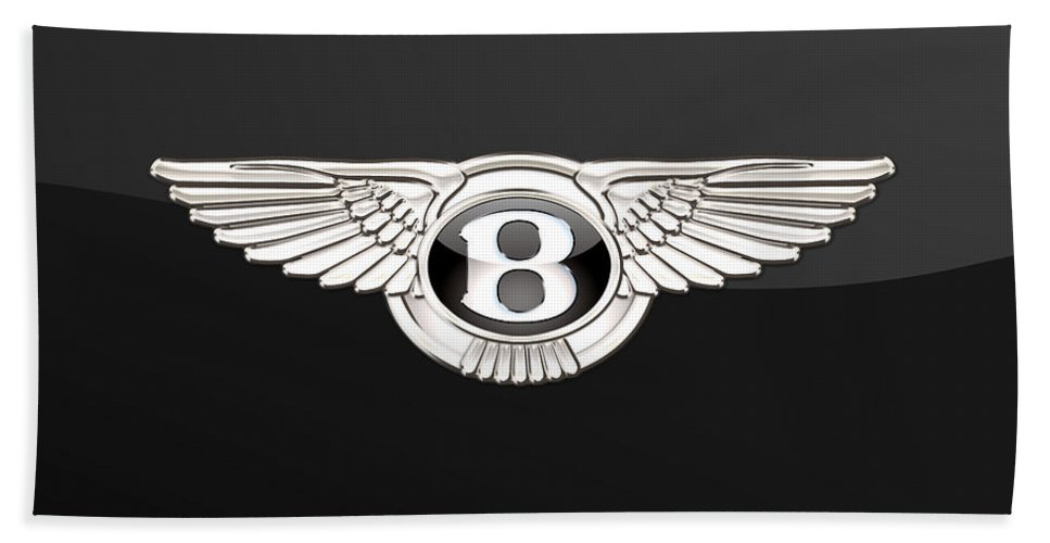 'wheels Of Fortune' By Serge Averbukh Bath Towel featuring the photograph Bentley - 3 D Badge On Black by Serge Averbukh