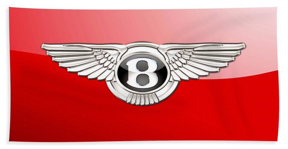 Wheels Of Fortune� Collection By Serge Averbukh Bath Towel featuring the photograph Bentley 3 D Badge on Red by Serge Averbukh