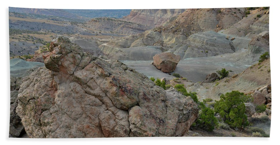 Little Park Road Bentonite Site Bath Sheet featuring the photograph Bentonite Dunes In Bangs Canyon by Ray Mathis