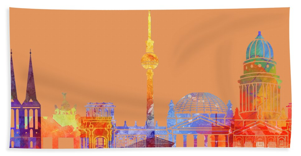 Europe Bath Sheet featuring the painting Berlin Landmarks Watercolor Poster by Pablo Romero