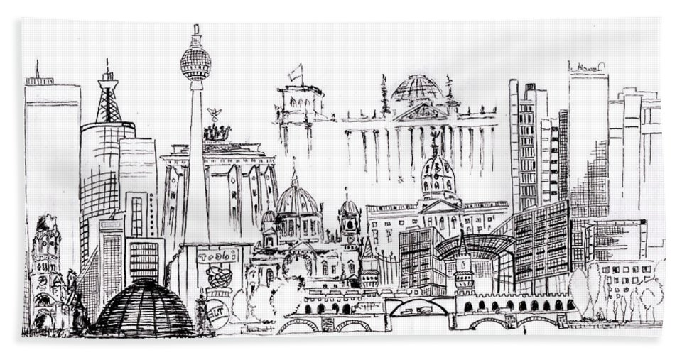 Berlin Sketch Art Bath Sheet featuring the drawing Berlin Medley Monochrome by Callan Art