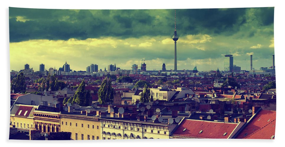 Berlin Hand Towel featuring the photograph Berlin Roofscape by Alexander Voss