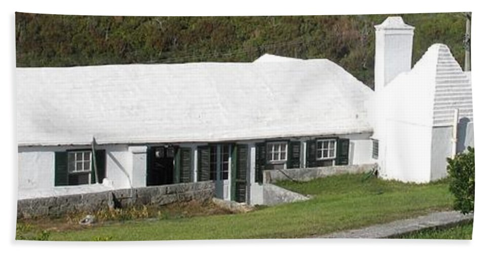 Bermuda Bath Sheet featuring the photograph Bermudian Centuries Old Cottage by Ian MacDonald