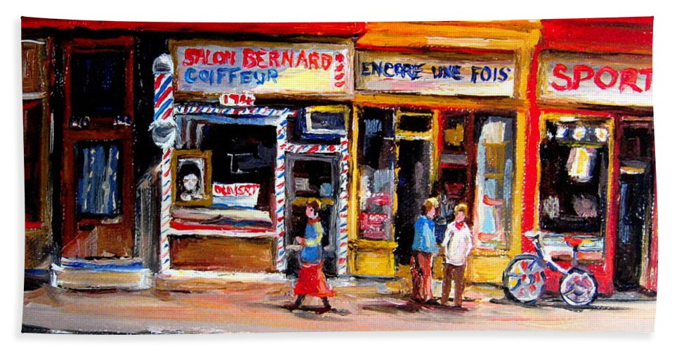 Bernard Barbershop Bath Towel featuring the painting Bernard Barbershop by Carole Spandau